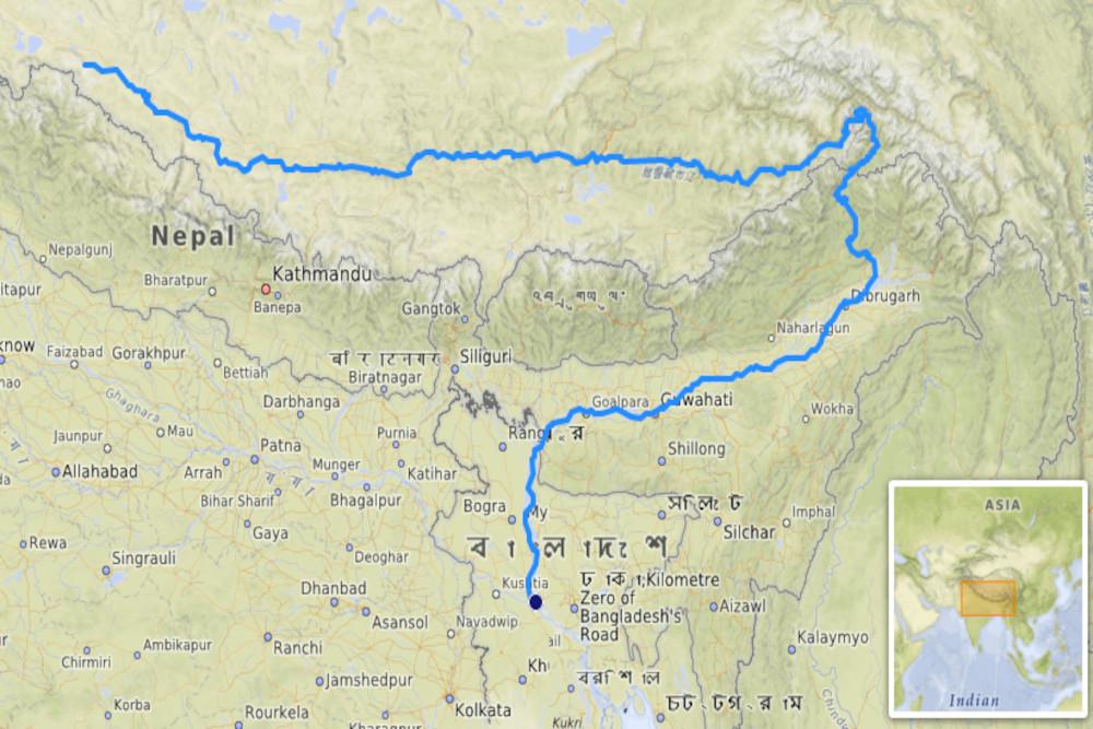 Map of Brahmaputra river